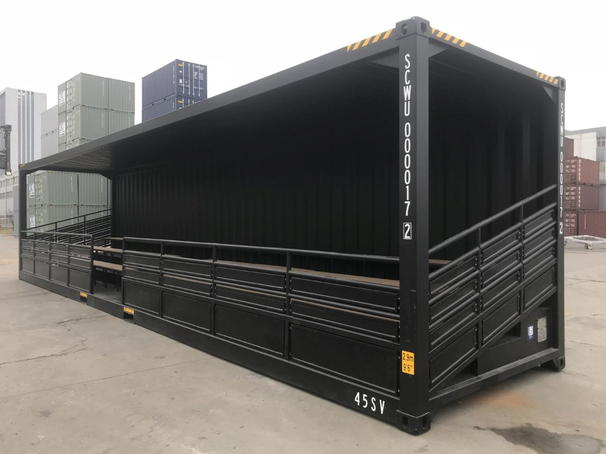 40 ft Tribune container rechts voor