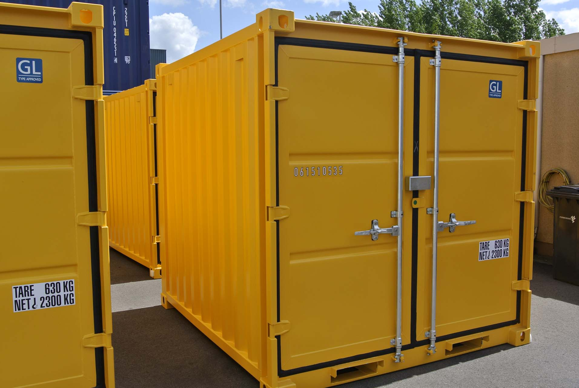 8 ft Opslagcontainer Containex front geel