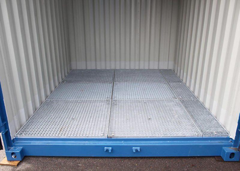 Opslag container met een roostervloer
