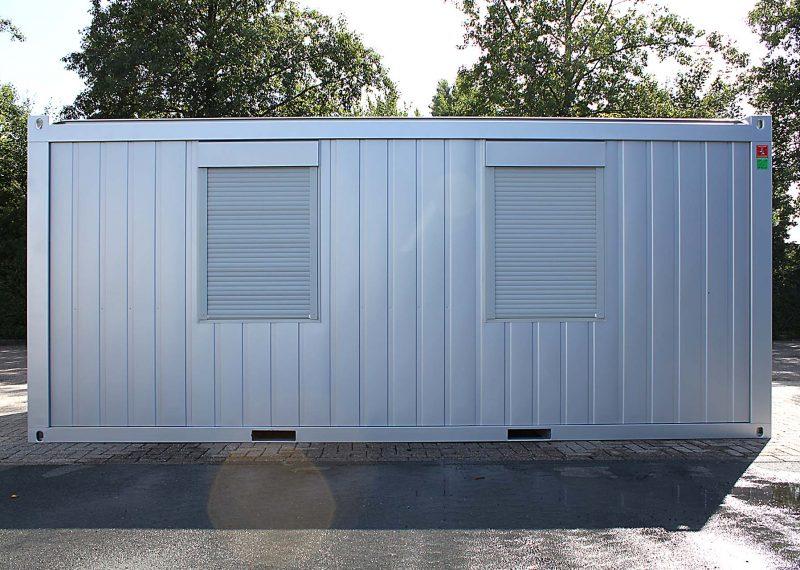 20ft kantoorunit met 2 ramen zilvergrijs